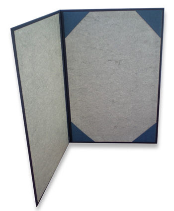 Presentation folder with ribbon corners to hold certificates or menus