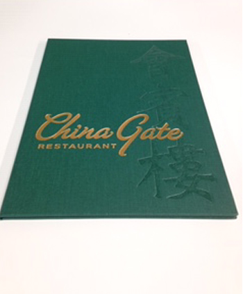 Linen covered menu holder with foil stamping