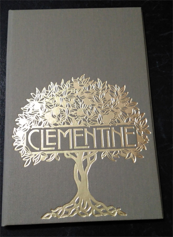 Menu cover made in tight weave linen cloth with gold foil stamping